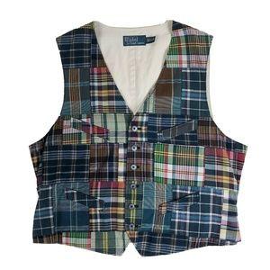 Vtg Polo Ralph Lauren Large Plaid Patchwork Vest